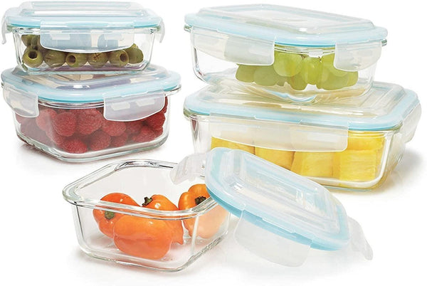 5 Pc Glass Container Set With Airtight Lids