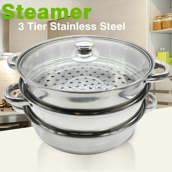 3 Tier St Steel Steamer with glass lid