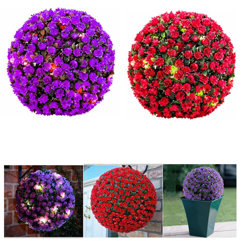 20 LED Solar Powered Rose Topiary Ball Lights | Dual Function | Beautifully Designed Artificial Flowers | Hanging Garden Light | Perfect for Garden Outdoor Decoration (28cm)