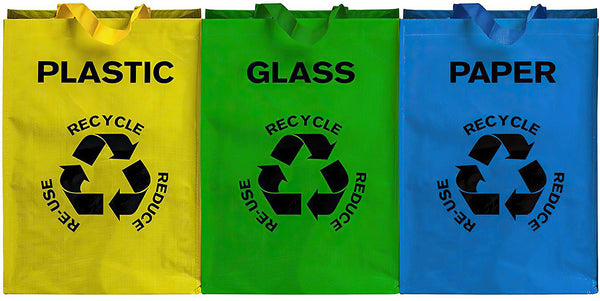 Set of 3 Colour Coded Recycling Bin Bags