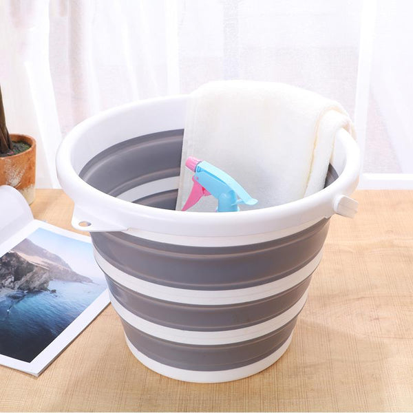 White/Gray Foldable Bucket with Handle and Hanging Hole