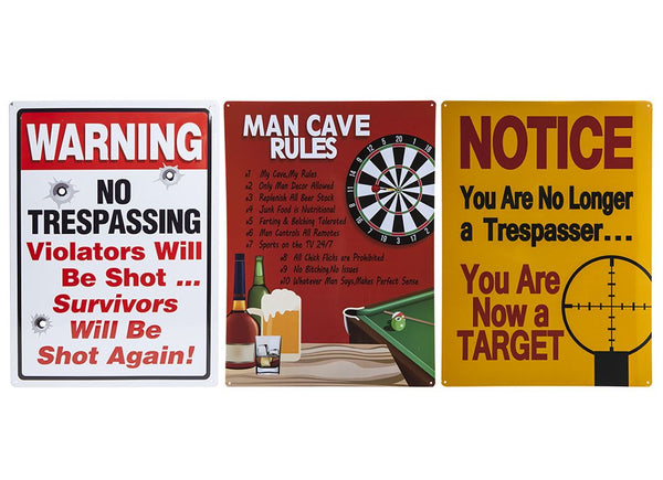 LARGE TIN WALL PLAQUES 3 ASSORTED 809059 Trading Innovation