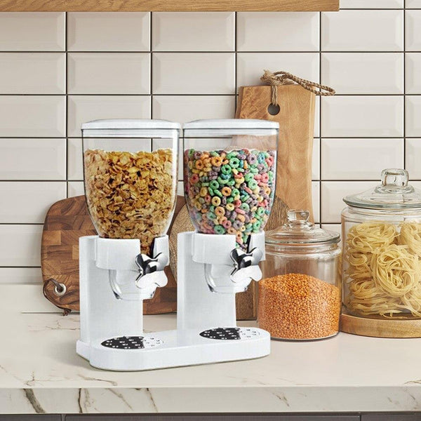Double Cereal Airtight Food Dispenser | Dual Control Dry Food Dispenser With Built In Spill Tray For Home, Kitchen, Countertops, Breakfast, Pets, Cat Food, Dog Food, Candy, Pantry, And Meals