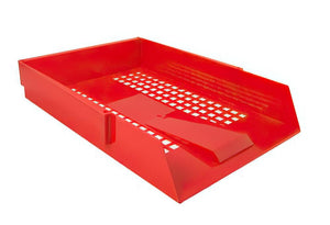 A4 Letter Tray | Mesh Design & Economical Plastic Construction (Red)