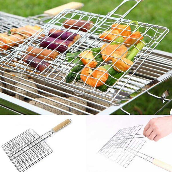 Chrome Plated BBQ Grill With Wooden Handle