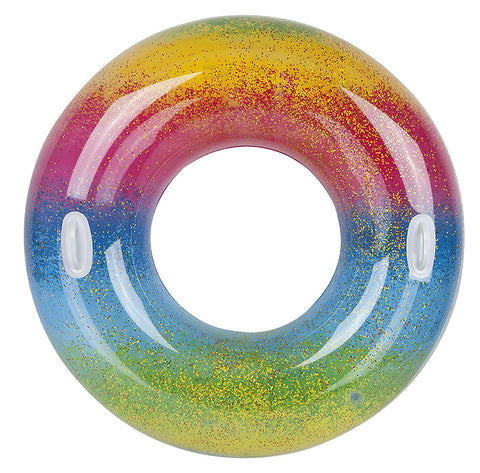 "48"" Large Inflatable Glitter Rainbow Swim Ring"