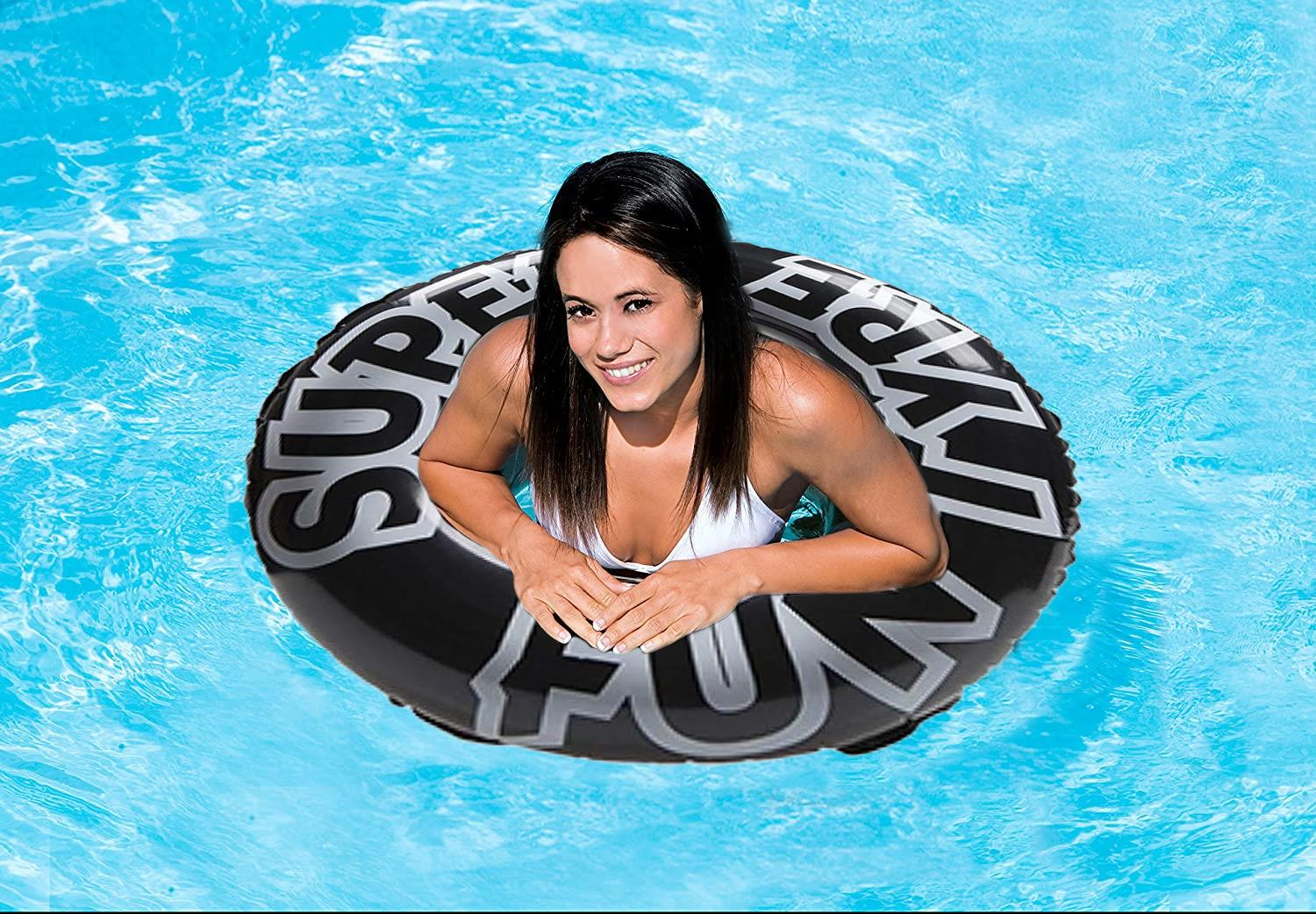 "36"" Large Inflatable Black Pool Tyre Swim Ring"