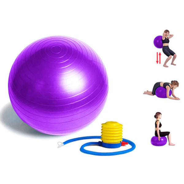 Anti-burst Yoga Ball with Hand Pump | Exercise Ball for Balance, Fitness, Core Strength & Workout (65cm)