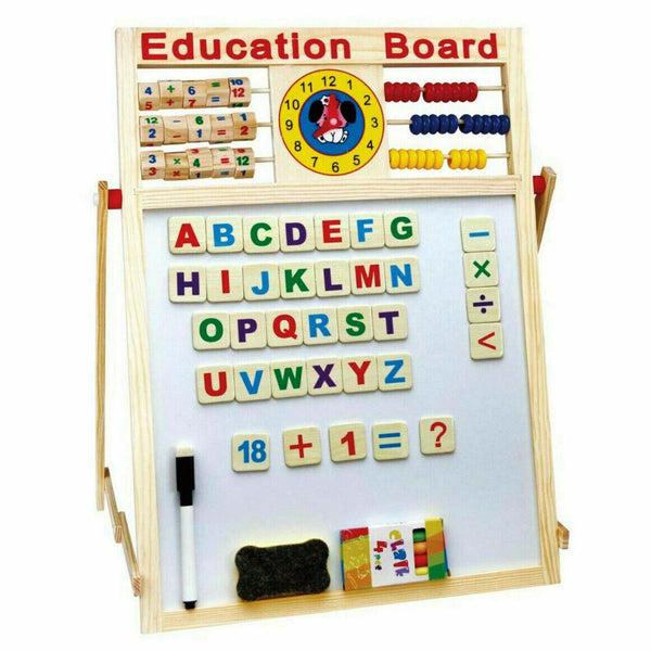 6 In 1 Kids Magnetic Wooden Easel Writing Activity Board With Stand