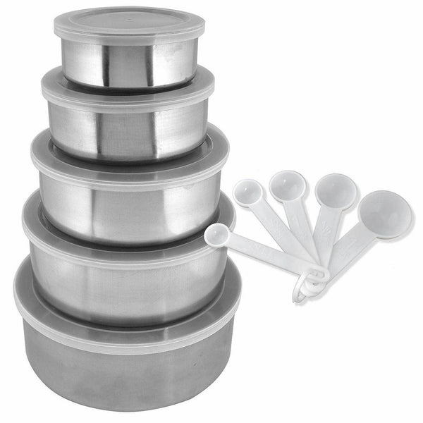 Set of 15 Stainless Steel Mixing Bowls with Airtight Lids