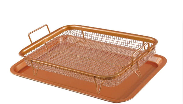 2 Pcs Non-Stick Baking Tray With Grill Basket | Copper Crisper Set | Suitable for Baking, Making Crispy Chips or Fries & Grilling