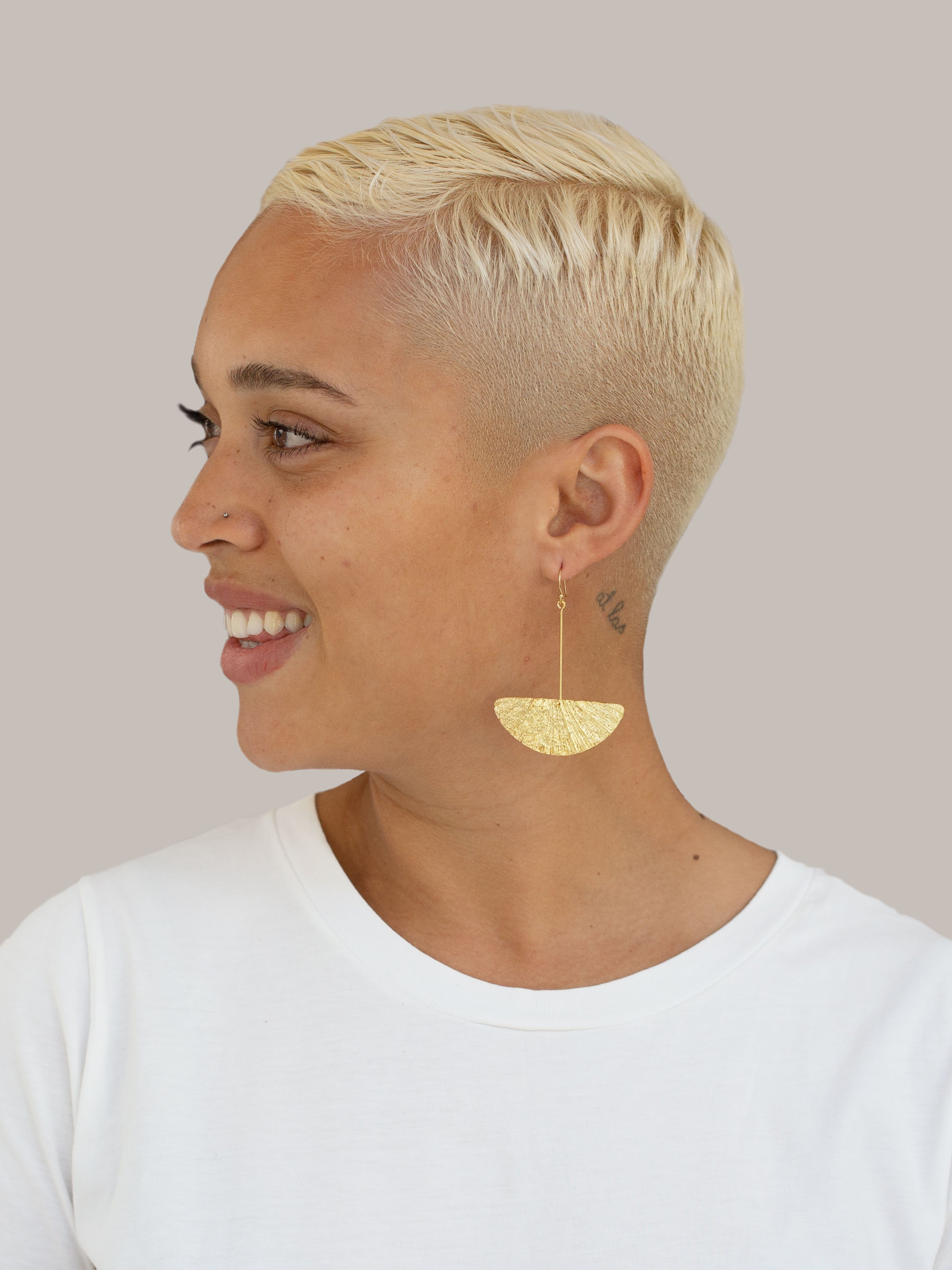 Large Fan Earrings, Yellow Gold