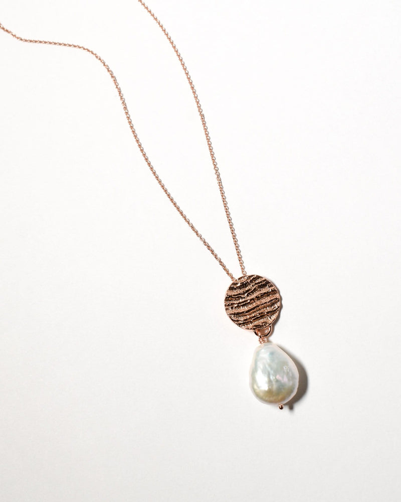Tear Drop Pearl Necklace, Rose Gold Plate