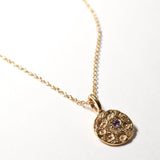 Amethyst Birthstone Necklace - February - Yellow Gold