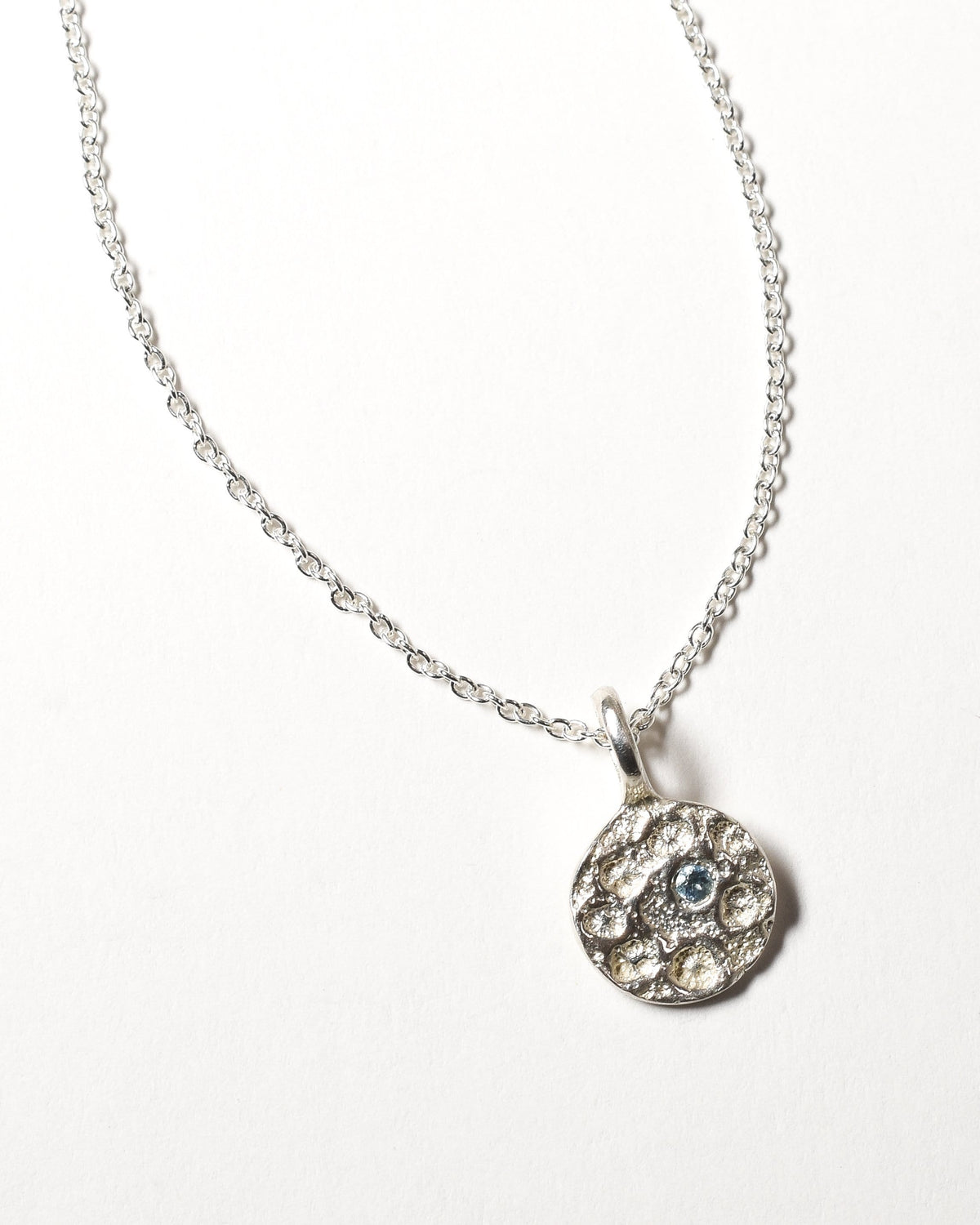 Aquamarine Birthstone Necklace - March - Sterling Silver