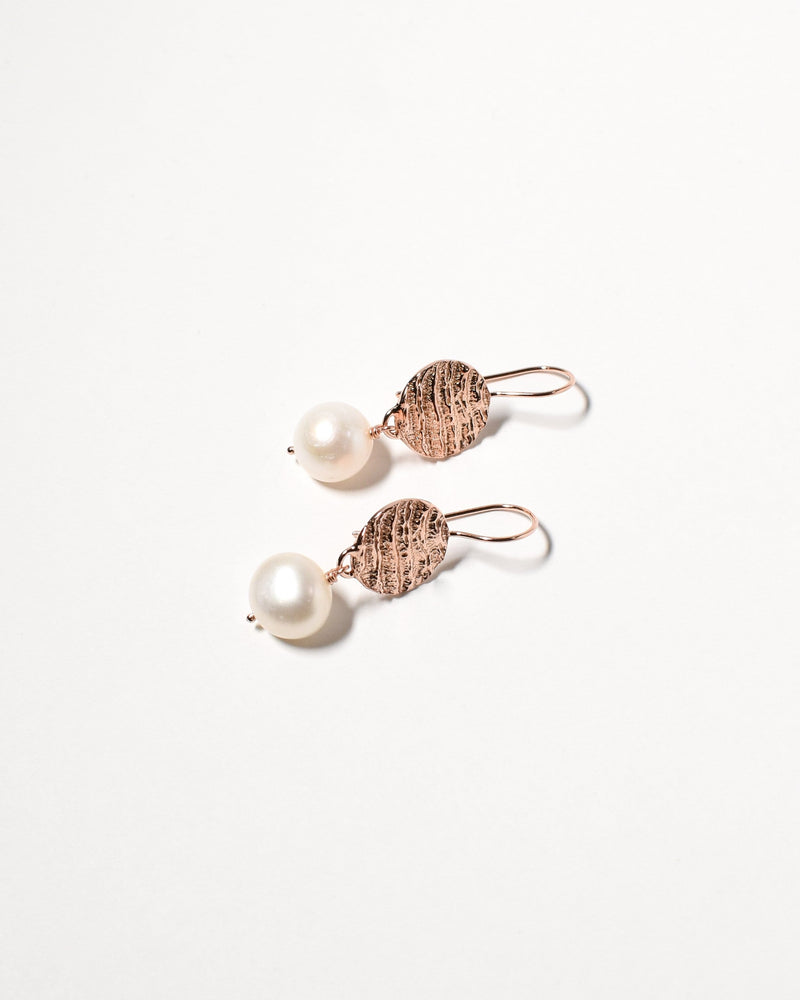 Button Pearl Earrings, Rose Gold Plated