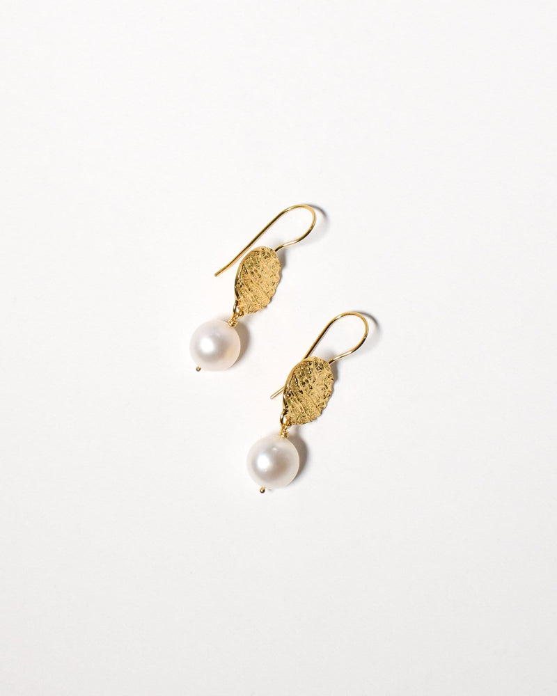 Button Pearl Earrings, Yellow Gold Plated