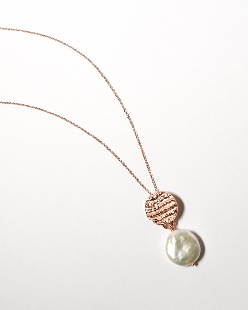 Coin Pearl Necklace, Rose Gold Plate