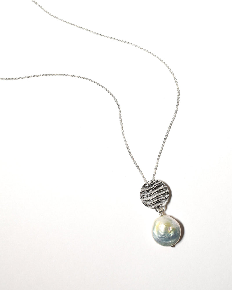Coin Pearl Necklace, Sterling Silver