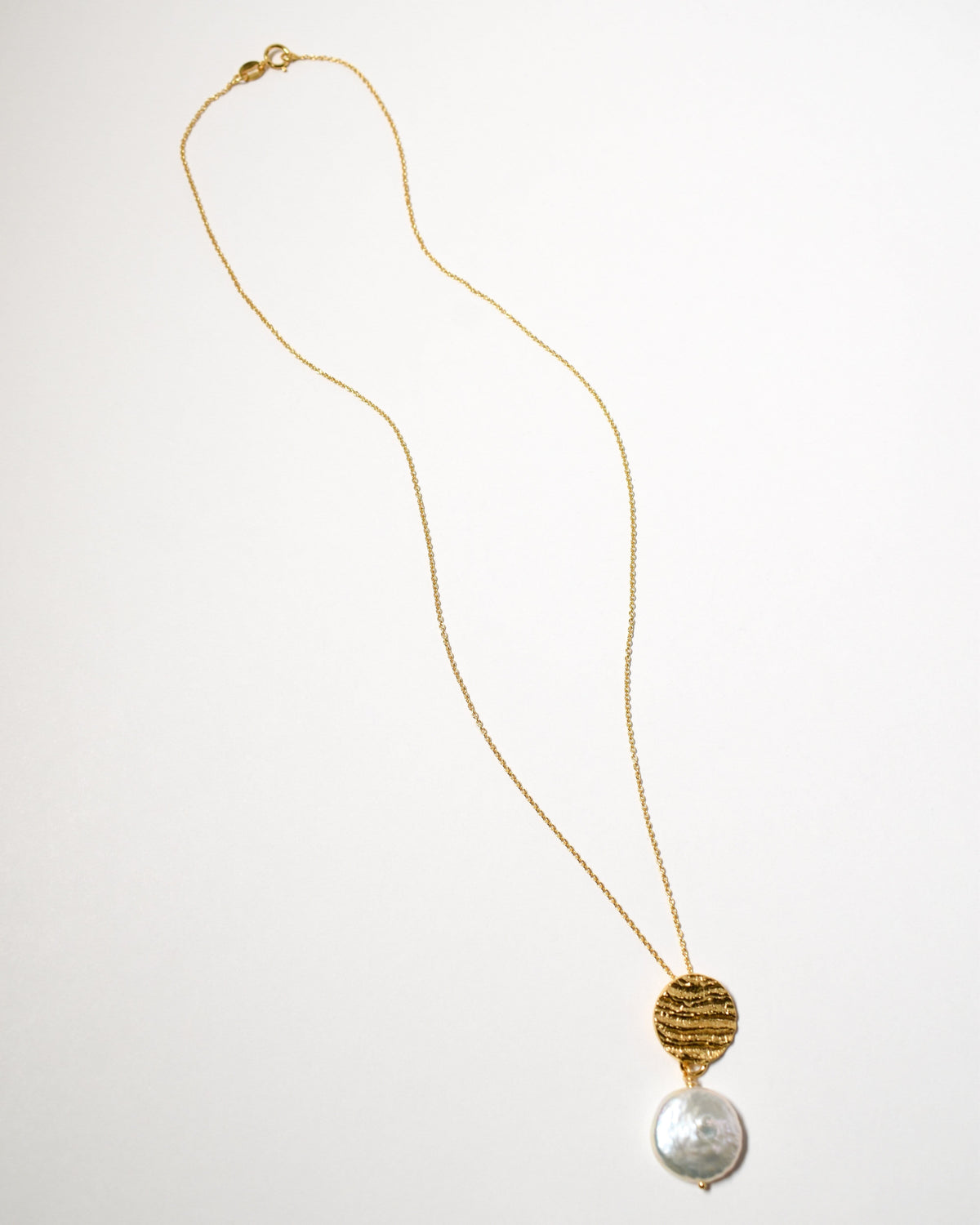 Coin Pearl Necklace, Yellow Gold Plate
