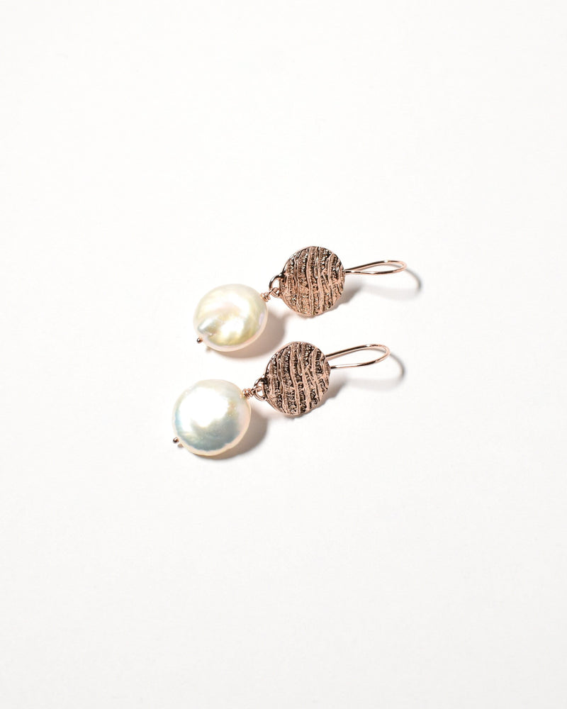 Coin Pearl Earrings, Rose Gold Plated