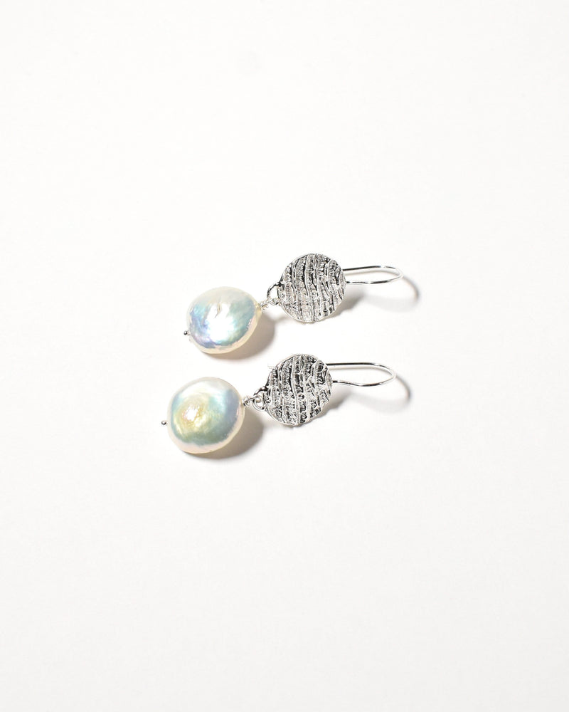 Coin Pearl Earrings, Sterling Silver