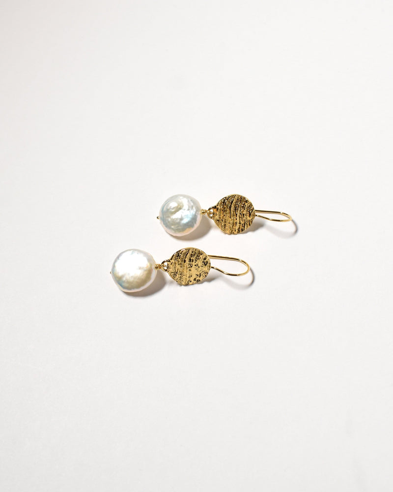 Coin Pearl Earrings, Yellow Gold Plated