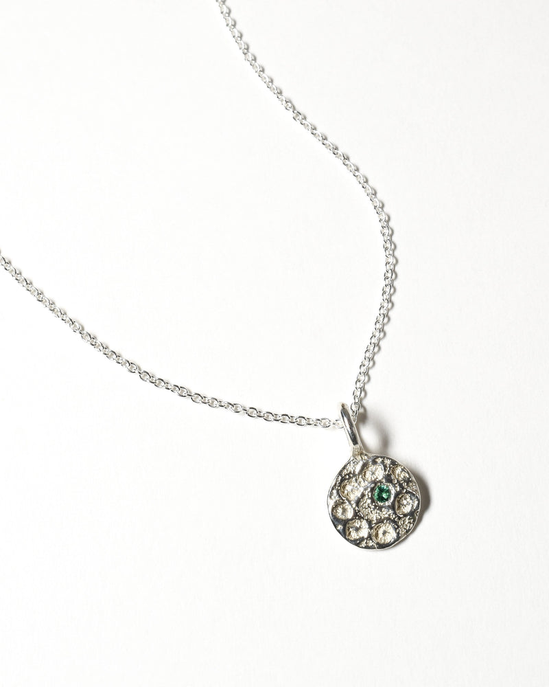 Emerald Birthstone Necklace - May - Sterling Silver