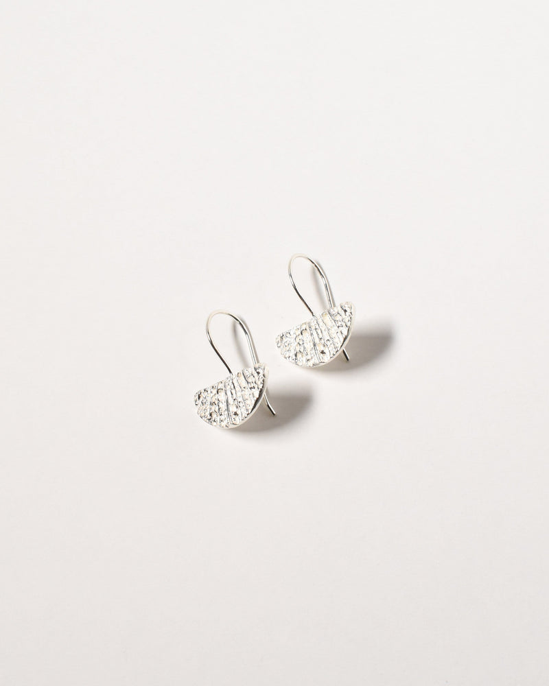 Small Fan Earrings, Sterling Silver
