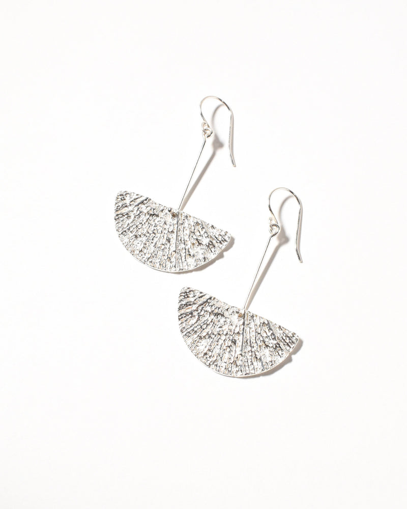 Fan Earrings, Sterling Silver