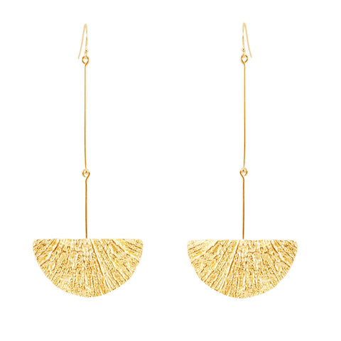 Long Fan Earrings, Yellow Gold