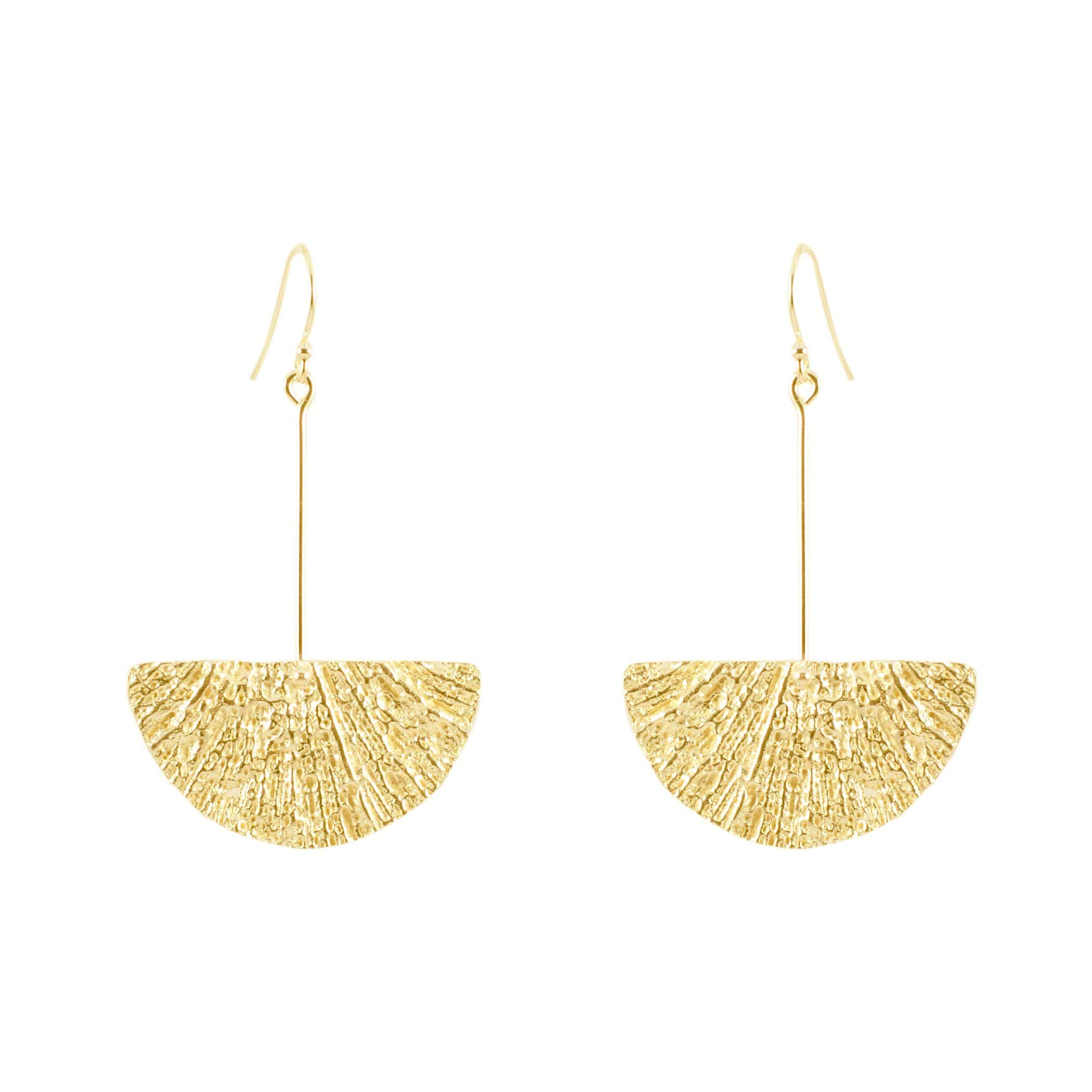 Fan Earrings, Yellow Gold