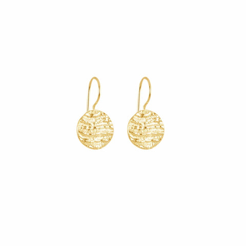 Small Disk Earrings, Yellow Gold