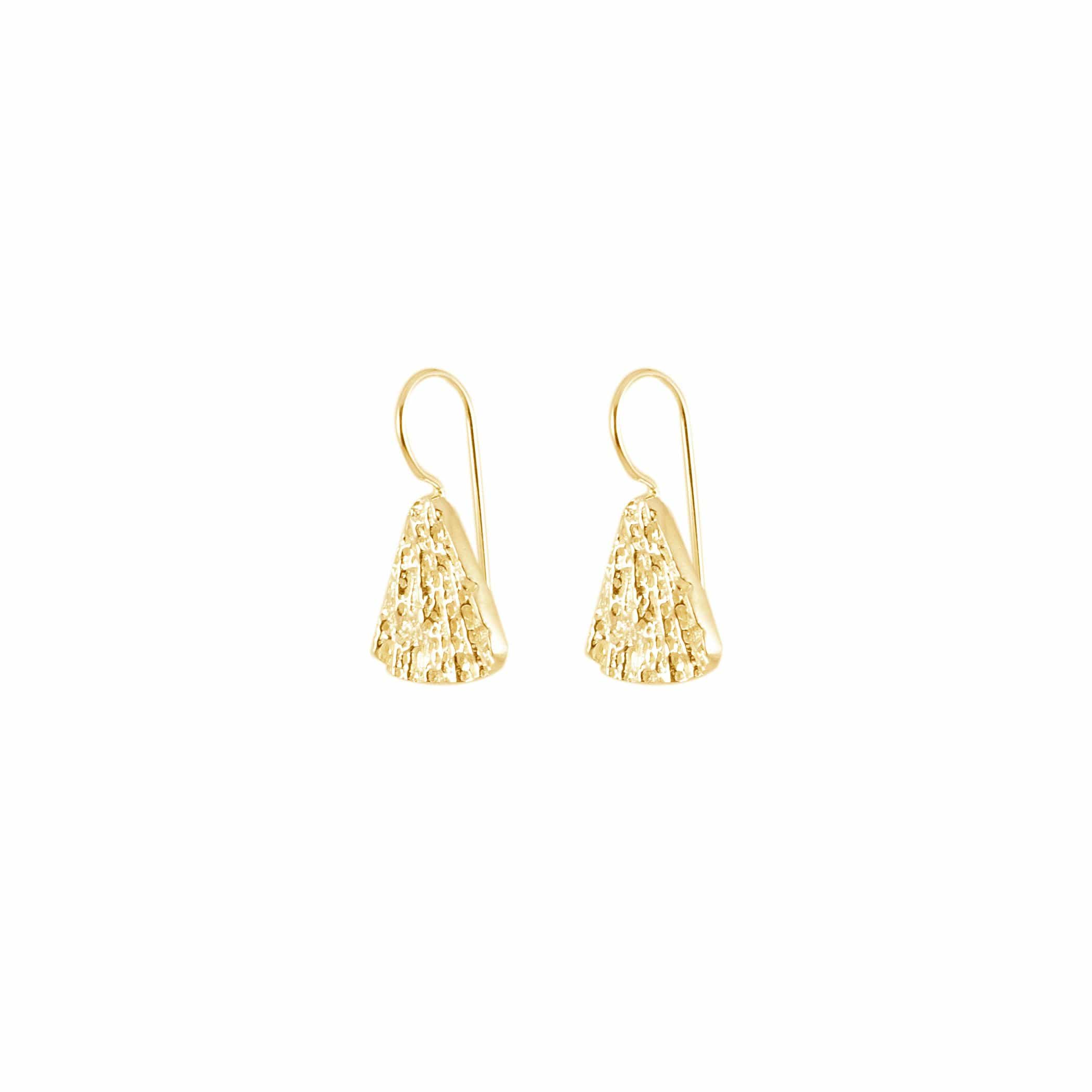 Small Triangle Earrings, Yellow Gold