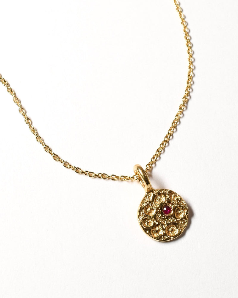 Ruby Birthstone Necklace - July - Yellow Gold
