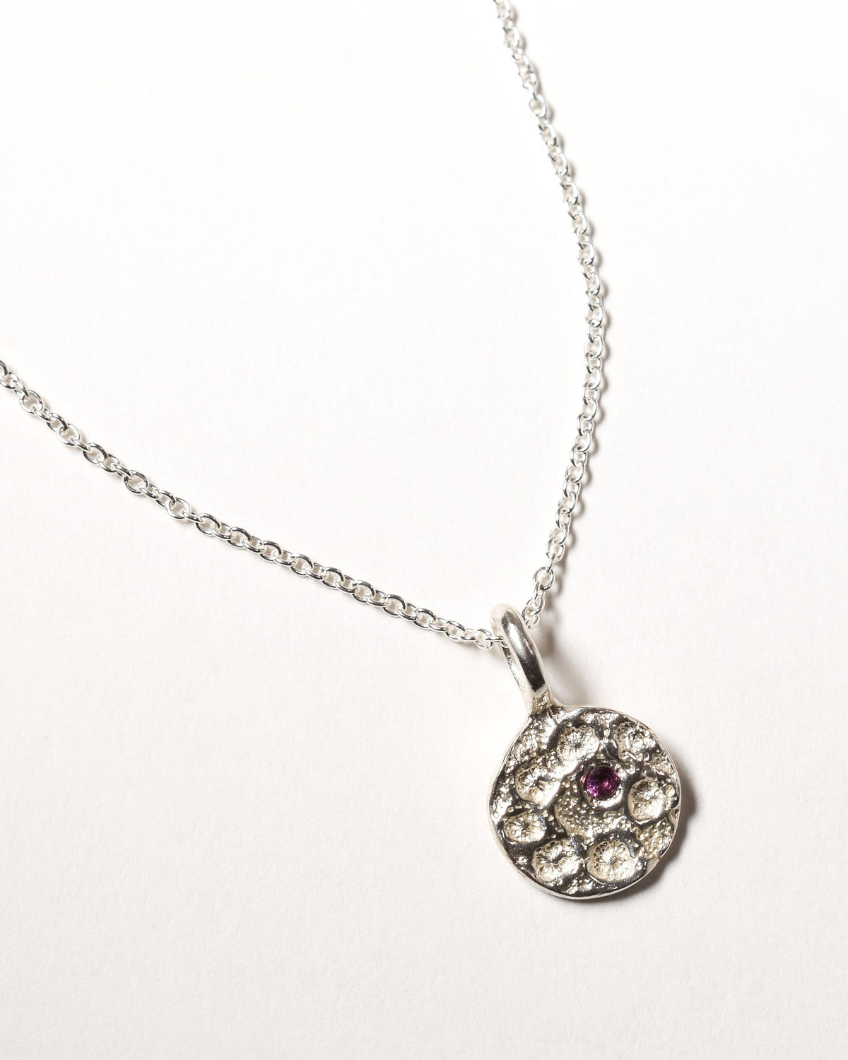 Garnet Birthstone Necklace - January - Sterling Silver