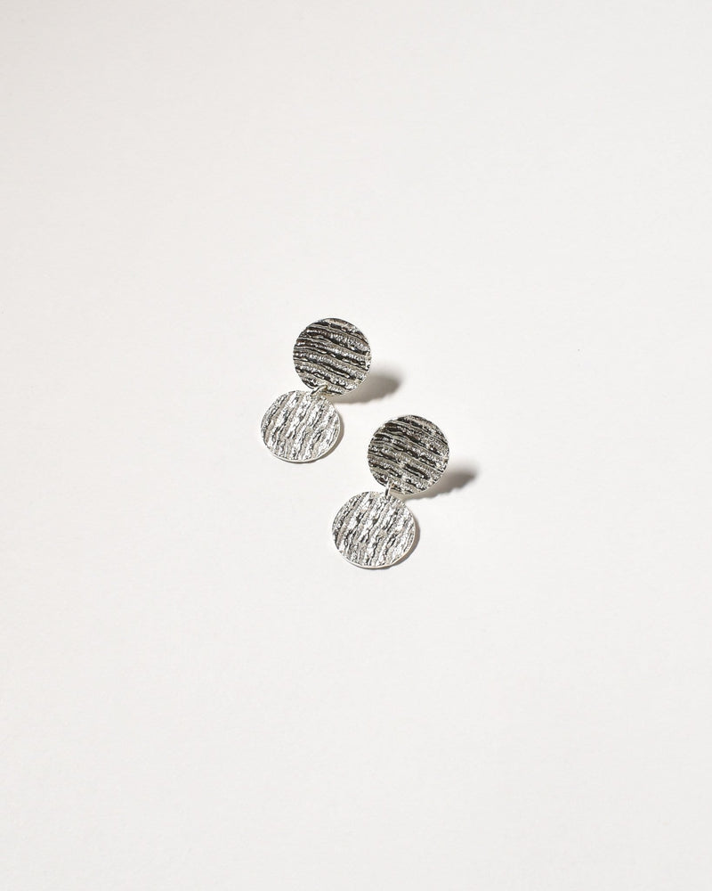 2 Disc Drops, Sterling Silver