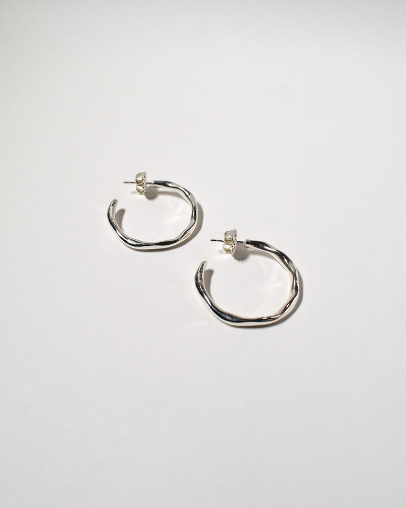 Wave Hoops (Medium), Sterling Silver