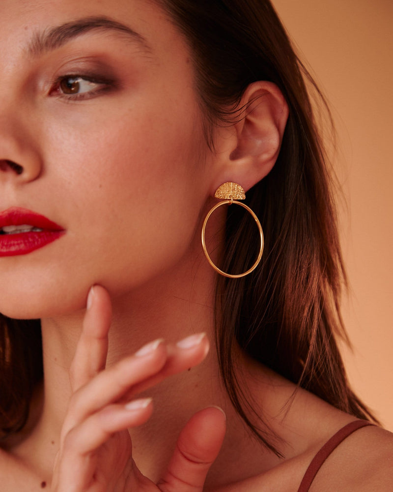 Palm Earrings, Yellow Gold Plated