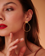 Fan Hoop Earrings, Yellow Gold