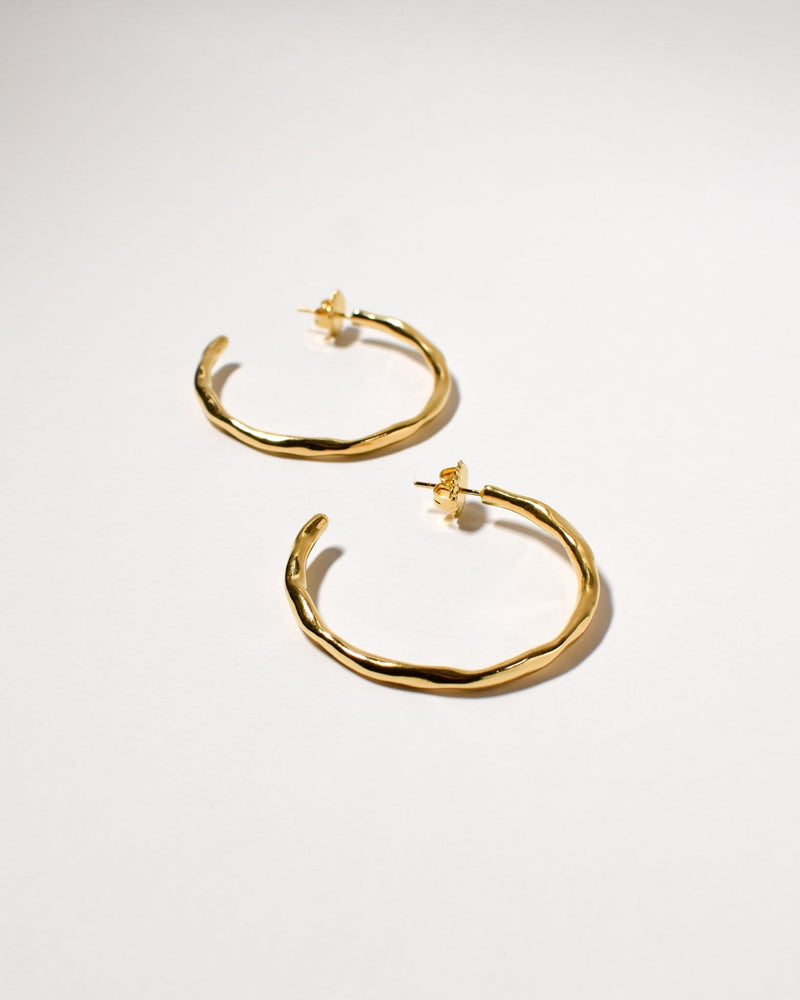 Wave Hoops (Large), Yellow Gold Plated