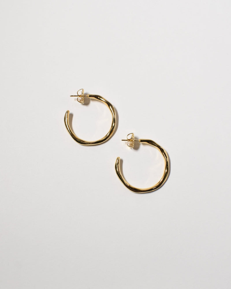 Wave Hoops (Medium), Yellow Gold Plated
