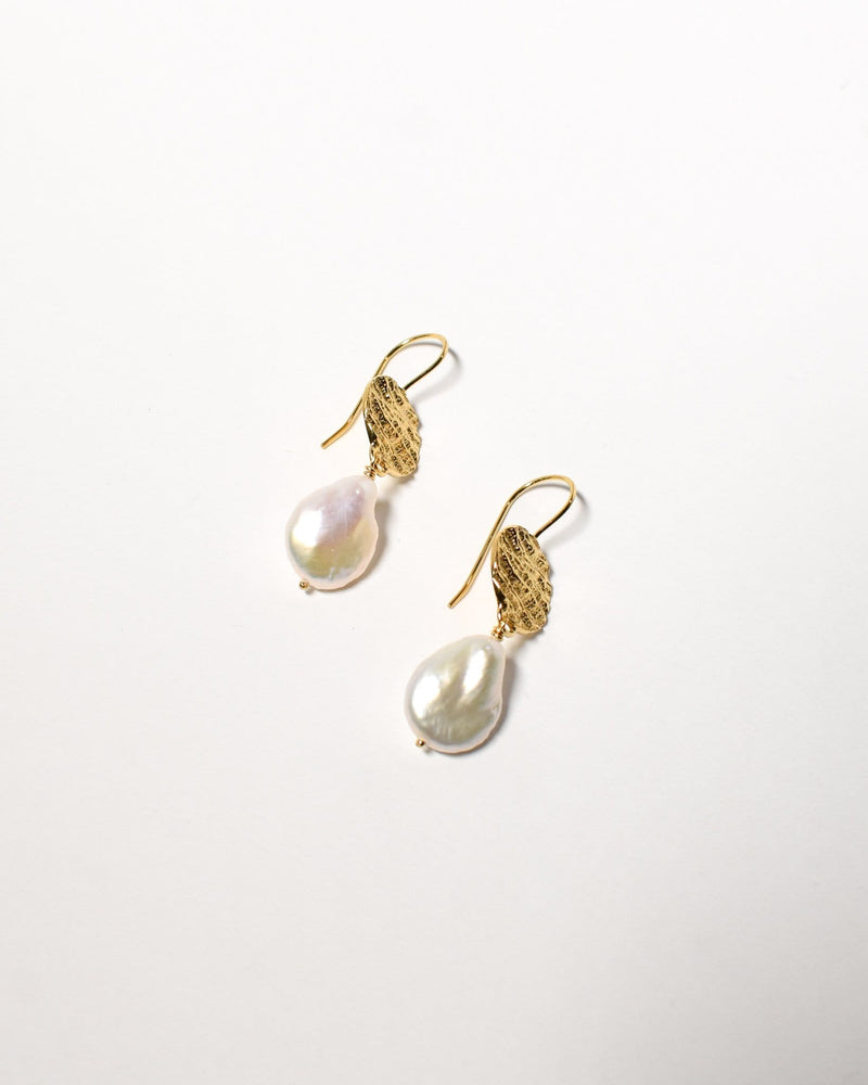 Tear Drop Pearl Earrings, Yellow Gold Plated