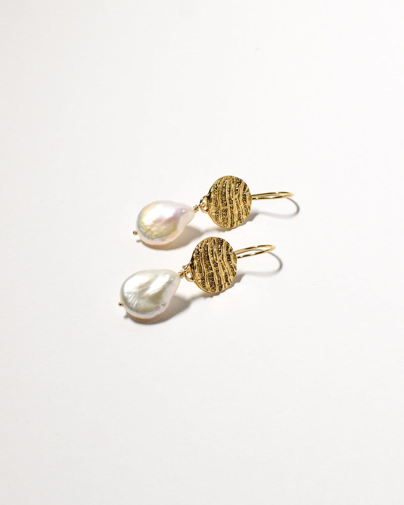 Kutti Pearl Earrings, Yellow Gold Plated