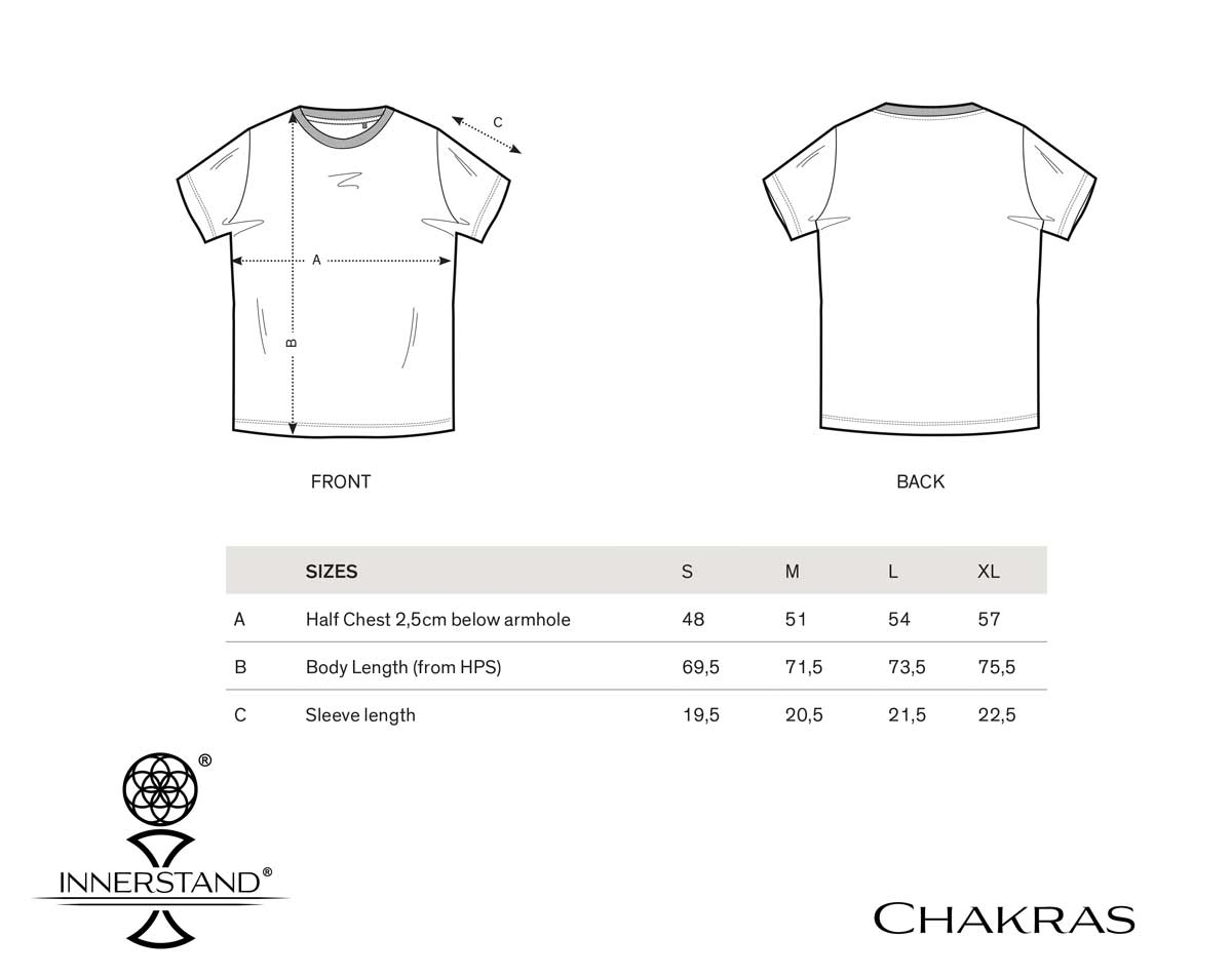 Chakra Tee Size Guide