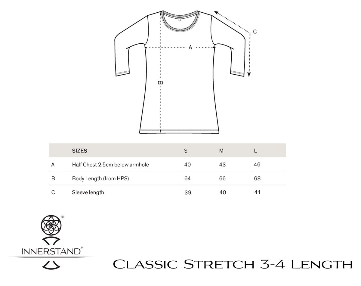 Classic Stretch 3-4 Length Size Guide