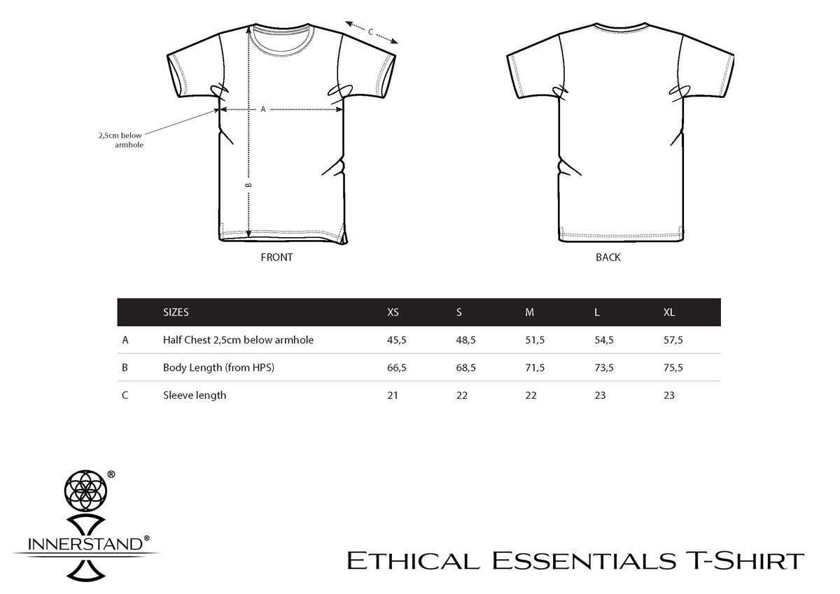 Ethical Essentials T-Shirt Size Guide
