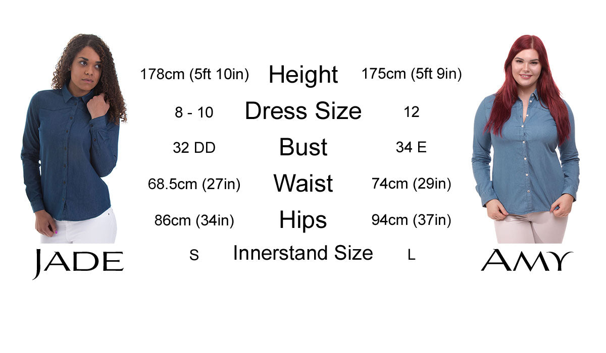 Women's Fitted Shirt Model Comparison Sizing