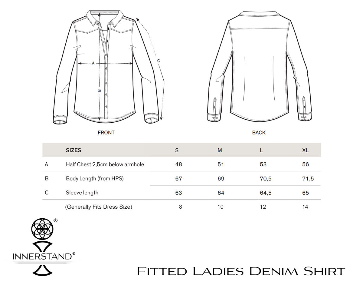 Ladies Fitted Denim Shirt Size Guide