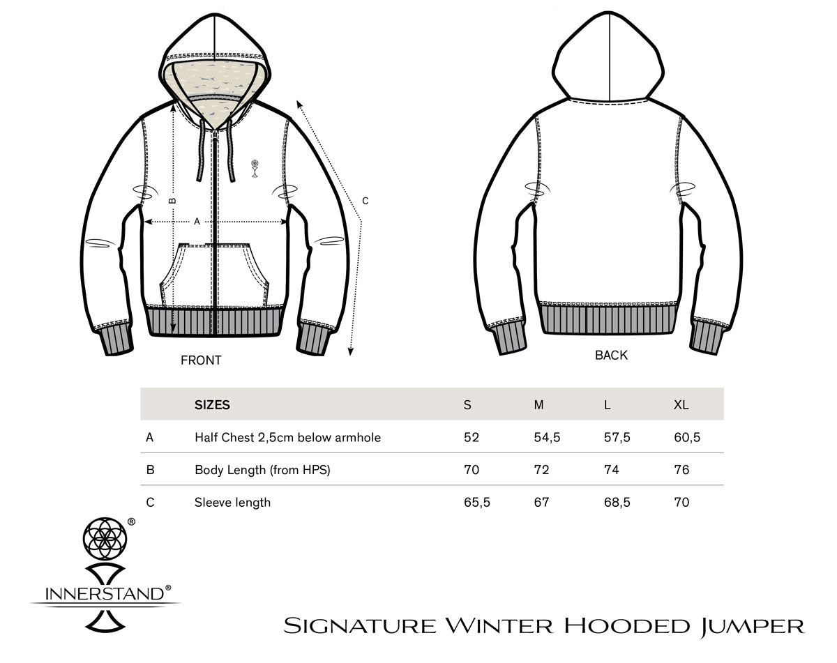 Men's Winter Hooded Jumper Size Guide